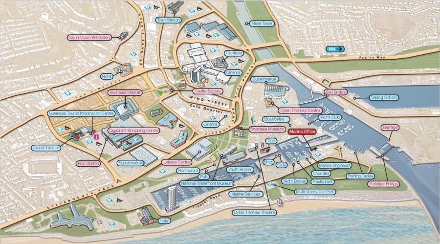 Swansea Marina and City Centre Map